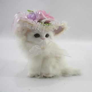 Διακοσμητικό γατάκι με γούνα μεσαίο λευκό