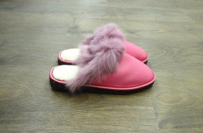 Παντόφλες γούνινες Καστοριάς γυναικείες ανοιχτές ροζ 2