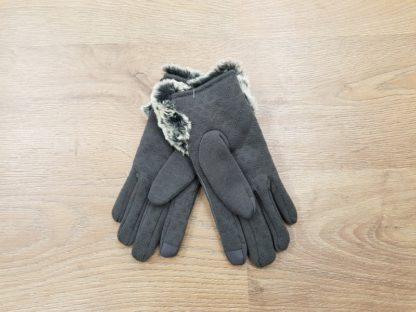 Γάντια δερμάτινα γυναικεία γκρι2