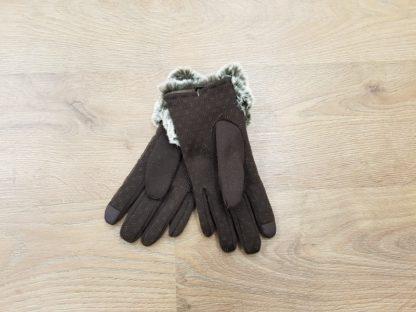 Γάντια δερμάτινα γυναικεία καφέ2