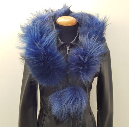 Κασκόλ γούνινο πομ πομ μπλε