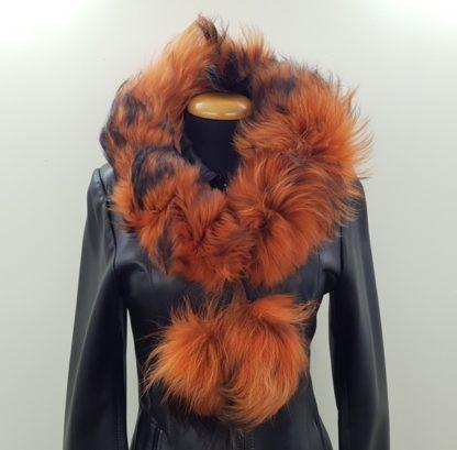 Κασκόλ γούνινο πομ πομ πορτοκαλί
