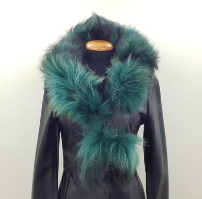 Κασκόλ γούνινο πομ πομ πράσινο