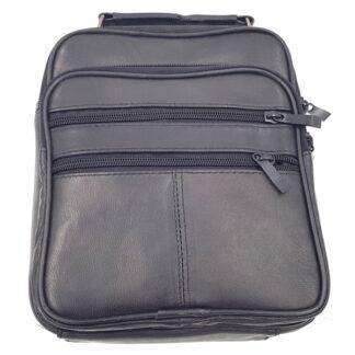 Δερμάτινη ανδρική τσάντα μικρή μαύρο