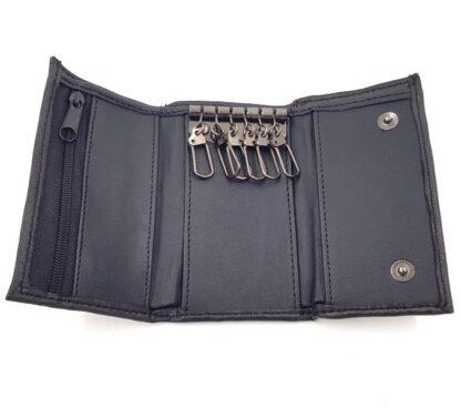 Δερμάτινη κλειδοθήκη πορτοφόλι μαύρο3