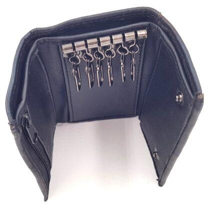 Δερμάτινη κλειδοθήκη πορτοφόλι μαύρο4