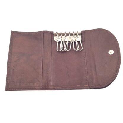 Δερμάτινο πορτοφόλι κλειδοθήκη καφέ3