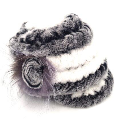 Γούνινο καπέλο γυναικείο γκρι σχέδιο2