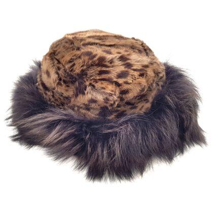 Γούνινο καπέλο γυναικείο καφέ σχέδιο