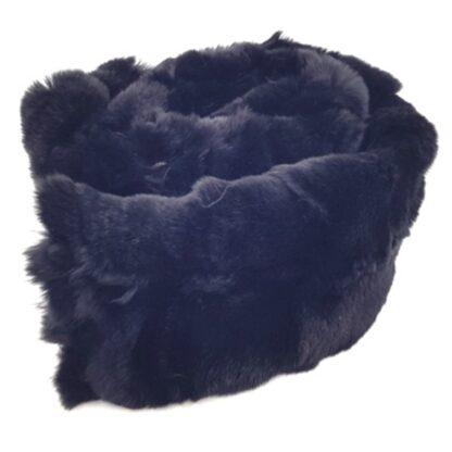 Κασκόλ με γούνα πλακέ μαύρο2