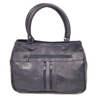 Μεσαία δερμάτινη τσάντα με φερμουάρ μαύρο