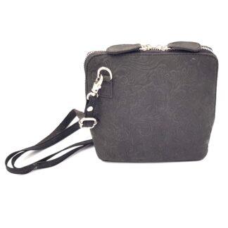 Μικρή δερμάτινη γυναικεία τσάντα γκρι