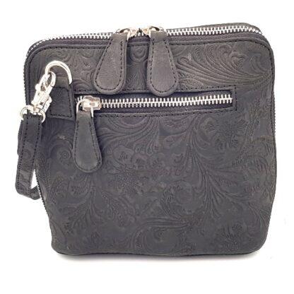 Μικρή δερμάτινη γυναικεία τσάντα γκρι2