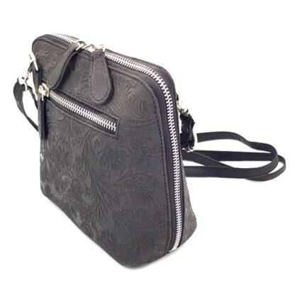 Μικρή δερμάτινη γυναικεία τσάντα γκρι3