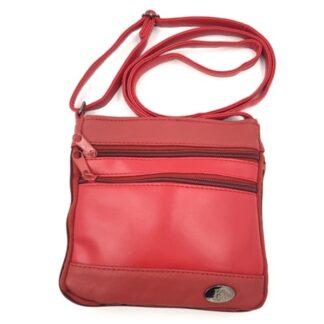 Τσάντα δερμάτινη χιαστί κόκκινο